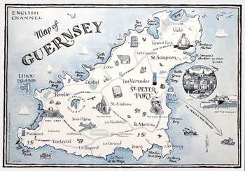 Small Illustrated Map of Gurnsey