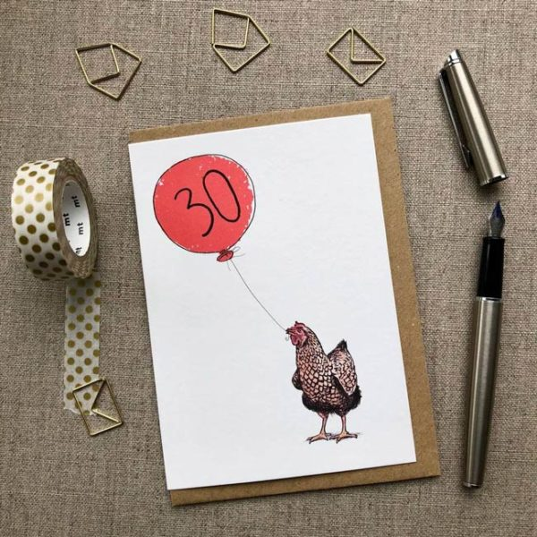 Hen Balloon Birthday Card age 30