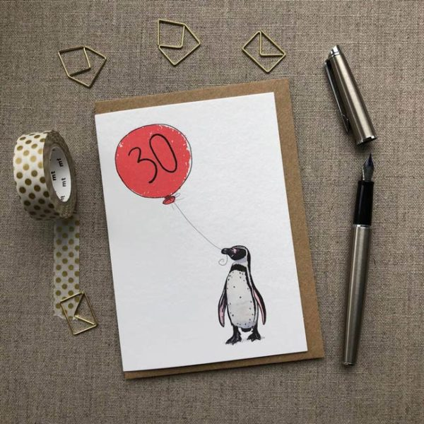 Personalised Penguin Balloon Birthday Card age 30