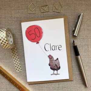 Personalised Hen Balloon Birthday Card age 50