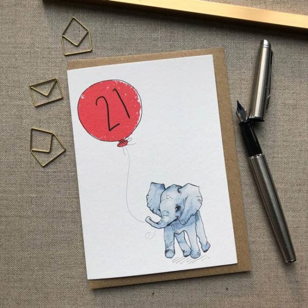 Personalised Baby Elephant Balloon Birthday Card age 21