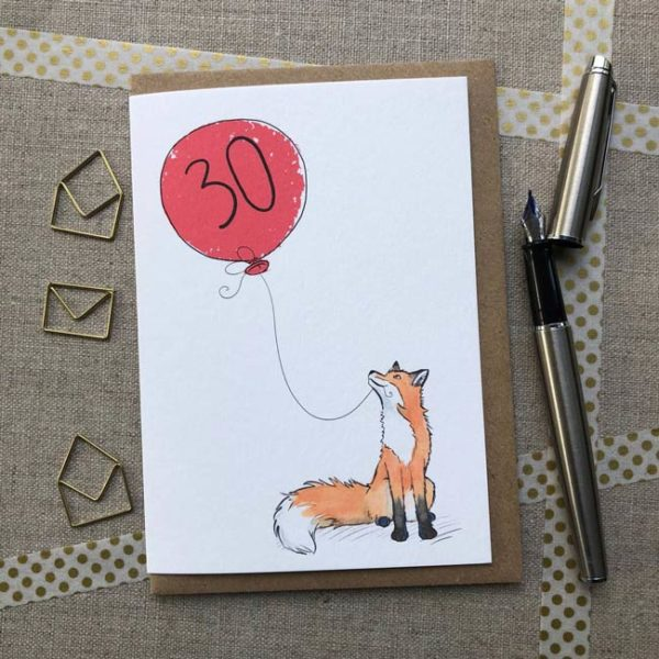 Fox balloon birthday card age 30