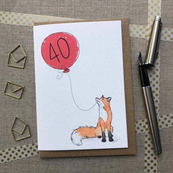 Fox balloon birthday card age 40