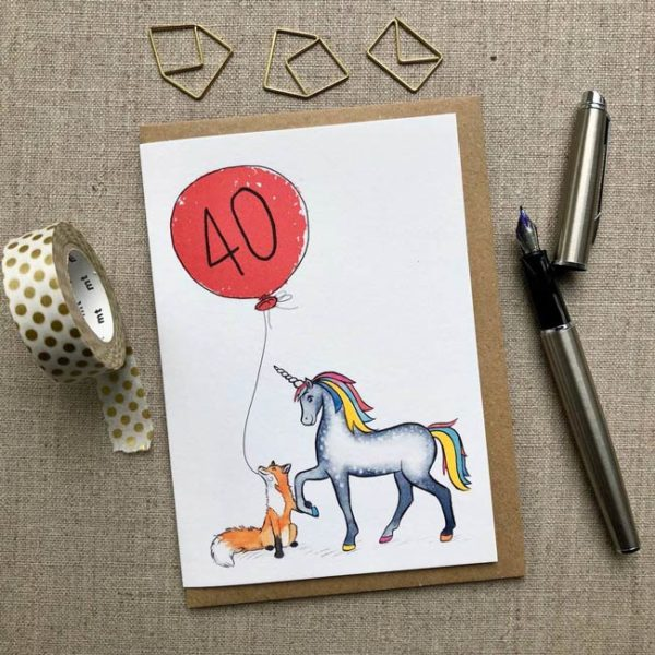 Personalised Unicorn and Unicorn and Fox Balloon Birthday Card age 40