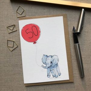 Personalised Baby Elephant Balloon Birthday Card age 50