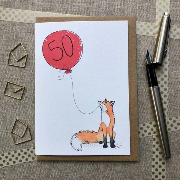 Fox balloon birthday card age 50