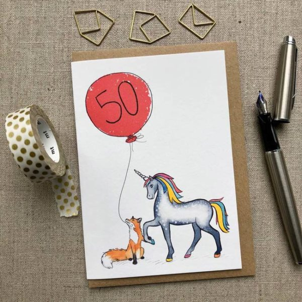 Personalised Unicorn and Unicorn and Fox Balloon Birthday Card age 50