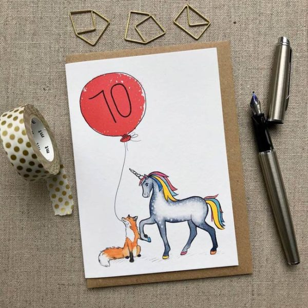 Personalised Unicorn and Unicorn and Fox Balloon Birthday Card age 70