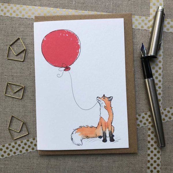 Fox balloon birthday card