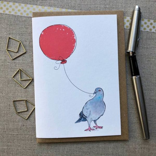 Pigeon Balloon Birthday Card