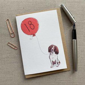 Personalised Springer Spaniel Balloon Birthday Card