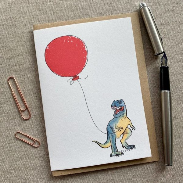 Personalised Dinosaur Balloon Birthday Card
