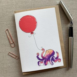 Personalised Octopus Balloon Birthday Card