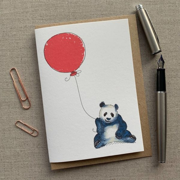 Personalised Panda Balloon Birthday Card