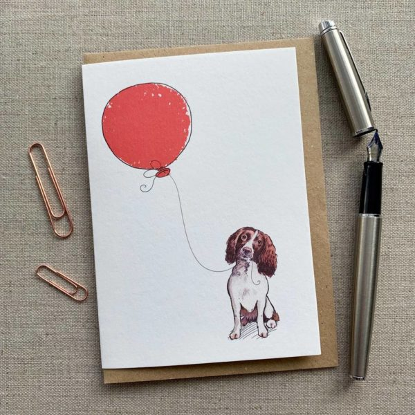 Personalised Springer Spaniel Balloon Birthday Card