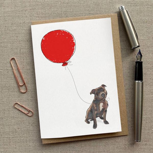Personalised Staffy Balloon Birthday Card