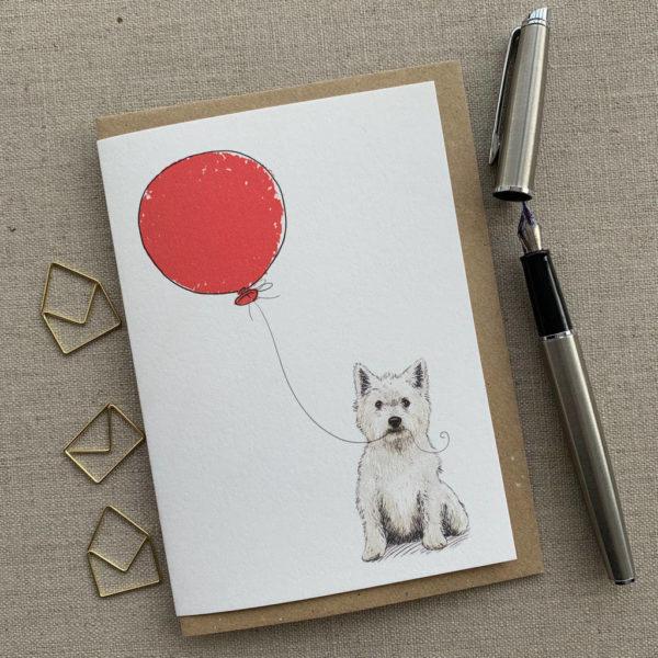 Personalised Westie Balloon Birthday Card