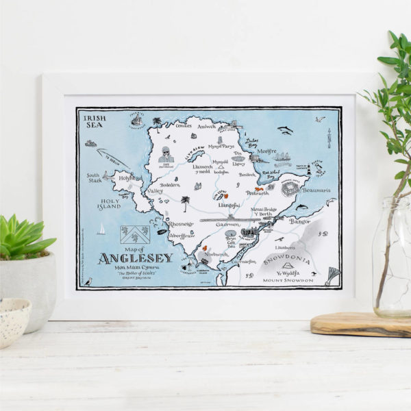 Map Of Anglesey Print - White frame