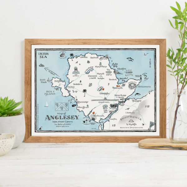 Map Of Anglesey Print - Oak frame