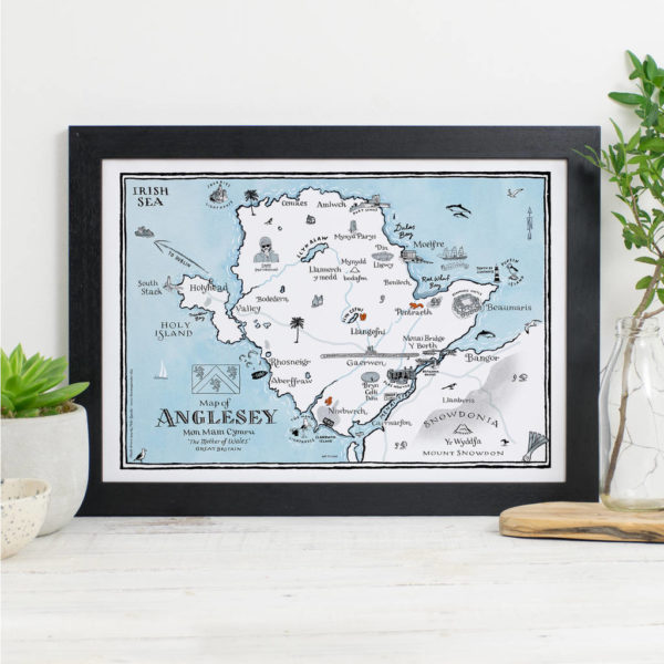 Map Of Anglesey Print - Black frame
