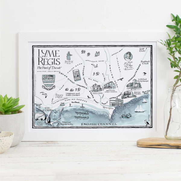 Map Of Lyme Regis Print - White frame