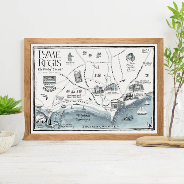 Map Of Lyme Regis Print - Oak frame