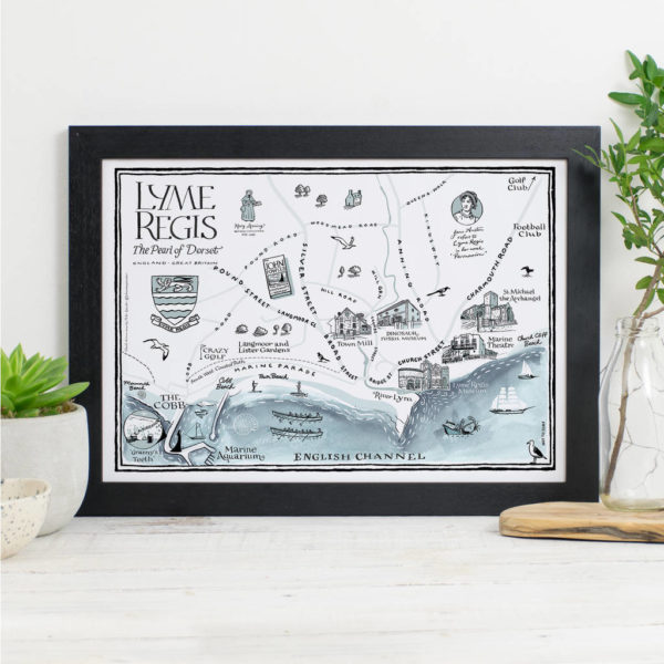 Map Of Lyme Regis Print - Black frame