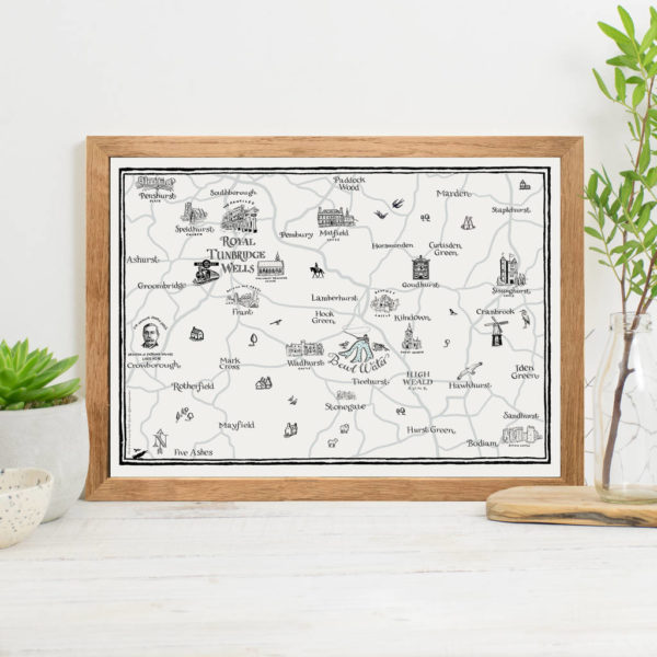 Map Of Royal Tunbridge Wells Print - Oak frame
