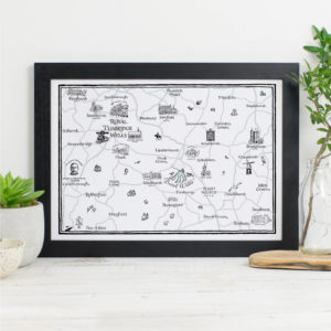 Map Of Royal Tunbridge Wells Print - Black frame