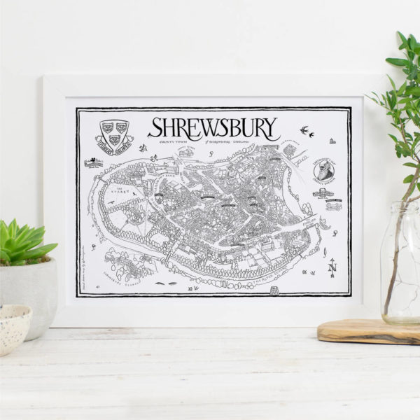 Map Of Shrewsbury Print - White frame