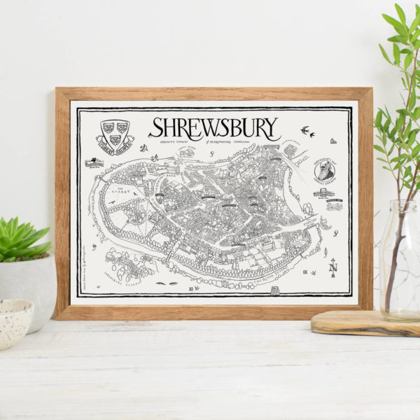 Map Of Shrewsbury Print - Oak frame