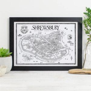 Map Of Shrewsbury Print - Black frame