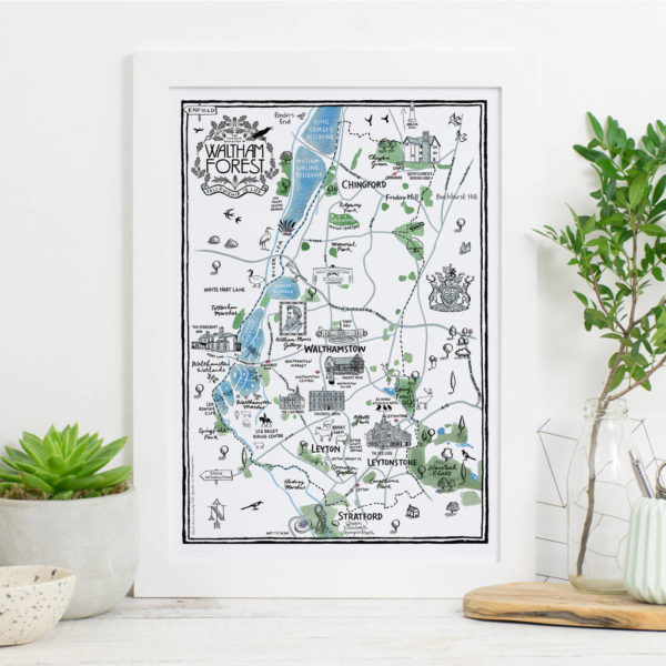 Map Of The Borough of Waltham Forest Print - White frame