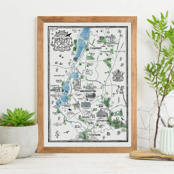 Map Of The Borough of Waltham Forest Print - Oak frame