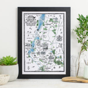 Map Of The Borough of Waltham Forest Print - Black frame